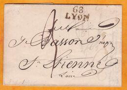 1826 - Marque Postale 68 Lyon, Rhône Sur Lettre Pliée Avec Corresp Vers Saint Etienne, Loire - Dateur à L'arrivée - Marcophilie (Lettres)