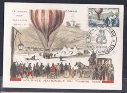 Carte Federale Ballon Journee Du Timbre 1955 Valenciennes - Cartas Máxima