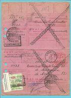 "Ontvangkaart (carte-recepisse) Stempel CHARLEROI Met Roodfrankeering ""PIANOS DE HEUG / CHARLEROI"" / E314 - ...-1959"