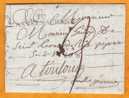 1820 - Marque Postale 10 Castelnaudary, Aude Sur Lettre Pliée écrite à Villeneuvette Vers Toulouse, Haute Garonne - Marcophilie (Lettres)