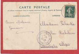 Algérie - CàD CONSTANTINE GARE -CONSTANTINE Sur Type Semeuse 30/05/1908 - 1877-1920: Semi-Moderne