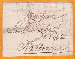 1819 - Marque Postale 65 Perpignan, Pyrénées Orientales Sur Lettre Pliée Avec Correspondance Vers Narbonne, Aude - Marcophilie (Lettres)
