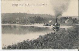 PENICHE - OISE  - SARRON. CPA Voyagée Bâteau à Vapeur Et Péniche  Sortant Du Chenal (coin Marqué Voir Scan) - Houseboats