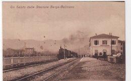 Un Saluto Dalla Stazione Barga-Gallicano - Treno Vapore - 1919       (200810) - Autres Villes