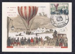Carte Federale Ballon Journee Du Timbre 1955 Langres - Cartas Máxima