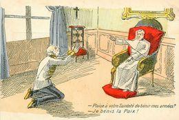 Anti Clérical * Politique * CPA Illustrateur * Pape Pope Sainteté * Je Bénis La Paix ! * Politica - Satiriques