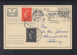 Niederlande Adreswijzing 1938 Arnhem Nach Schleswig - Postal Stationery