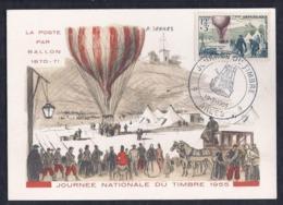 Carte Federale Ballon Journee Du Timbre 1955 Arles - Cartas Máxima