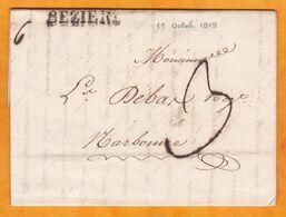1819 - Marque Postale 33 Béziers, Hérault Sur Lettre Pliée Avec Correspondance De 2 Pages Vers Narbonne, Aude - Marcophilie (Lettres)