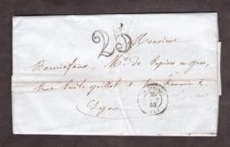 LAC - 20 Octobre 1853 - St Etienne Pour Lyon - Port Dû Taxe 25 - Marcophilie (Lettres)