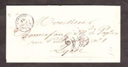 LAC - Octobre 1851 - Manosque Pour Lyon Par Avignon - Port Dû Taxe 25 - Marcophilie (Lettres)