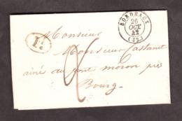 LAC - Octobre 1842 - Bordeaux Pour Bourg Sur Gironde (T13) - Port Dû 2 Décimes + 1 Décime Rural - Marcophilie (Lettres)