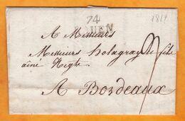 1819 - Marque Postale 74 ROUEN Sur Lettre Pliée Avec Correspondance De 2 Pages Vers BORDEAUX, Gironde - Marcophilie (Lettres)