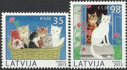 LV 2013- BIRDS, LETONIA, 1 X 2v, MNH - Chats Domestiques