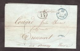 LAC - 13 Février 1838 - Paris (dateur A Bleu) Pour Drucourt - Port Dû 4 Déc (bleu) + 1 Déc Rural - VS: T13 Thiberville - Marcophilie (Lettres)