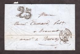 LAC - 30 Janvier 1852 - Carcassonne Pour Drucourt - Port Dû Taxe 25 - VS T14 Thiberville T15 Paris - Marcophilie (Lettres)