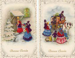 2 CPA. - Velours - Bonne Année - Diligence -la Visite - Scan Du Verso - - Tarjetas De Fantasía
