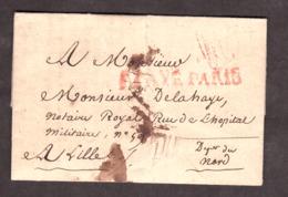 LAC - Juin 1827 - P.PAYE PARIS (rouge) Pour Lille - Port Dû 5 Décimes - Dateur A Arrivée - Marcophilie (Lettres)