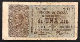 1 Lira Vitt. Em. III° 10 07 1921 Buono Di Cassa Dell'ara Porena R4 RRRR  LOTTO 1296 - [ 2] 1946-… : Repubblica