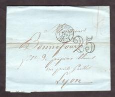 LAC - Août 1851 - Marseille Pour Lyon - Port Dû Taxe 25 - Marcophilie (Lettres)