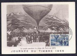 Carte Maximum Ballon Journee Du Timbre 1955 Alger - Maximumkarten