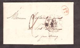 LAC - 23 Mai 1838 - T12 Bordeaux Pour Bourg Sur Gironde (T13) - Port Dû 2 Déc + 1 Déc Rural Rouge - Marcophilie (Lettres)