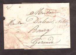 LAC - Novembre 1842 - T12 Rouge Bordeaux Pour Bourg Sur Gironde (T13) - Port Payé 2 Décimes - Marcophilie (Lettres)