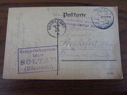14-18: 2 Cartes (une Avec Un Trou) De Prisonniers De SOLTAU (Hannovre) En 1915 Et 1916. Cachets Divers - WW I