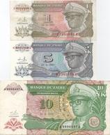 Zaïre : Série De 3 Billets 1993 : 1 Nouveau LUKUTA (TB) + 5 Nouveaux MAKUTA (UNC) + 10 Nouveaux MAKUTA (BON) - Zaire