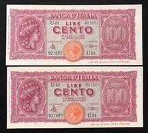 100 Lire Italia Turrita 10 12 1944 LUOGOTENENZA FDS LOTTO DI 2 PEZZI CONSECUTIVI LOTTO 1071 - [ 1] …-1946 : Royaume