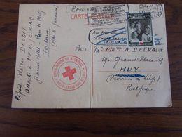 Carte Postale (pliée Verticalement) Au Départ De La France (TOULOUSE) (mentionnée COURRIER BELGE) En Juillet 1940 Achemi - WW II