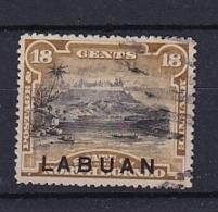 North Borneo - Labuan: 1894/96   Mount Kinabalu 'Labuan' OVPT     SG71    18c  Olive-brown [Perf: 14½-15]    Used CTO - Bornéo Du Nord (...-1963)