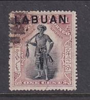 North Borneo - Labuan: 1897/1901   Dyak Chief 'Labuan' OVPT     SG89ab    1c  Dull Claret [Perf: 16]    Used CTO - Bornéo Du Nord (...-1963)