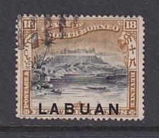 North Borneo - Labuan: 1897/1901   Mount Kinabalu 'Labuan' OVPT     SG96    18c   [Perf: 13½-14]    Used CTO - Bornéo Du Nord (...-1963)