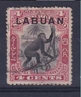 North Borneo - Labuan: 1900/02   Orang-Utan 'Labuan' OVPT     SG113    4c  Black & Carmine [Perf: 13½-14]    Used - Bornéo Du Nord (...-1963)