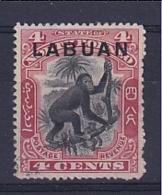 North Borneo - Labuan: 1900/02   Orang-Utan 'Labuan' OVPT     SG113a    4c  Black & Carmine [Perf: 14½-15]    Used C - Bornéo Du Nord (...-1963)