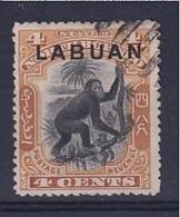 North Borneo - Labuan: 1900/02   Orang-Utan 'Labuan' OVPT  SG112    4c  Black & Yellow-brown [Perf: 13½-14]    Used CTO - Bornéo Du Nord (...-1963)