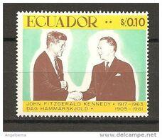 ECUADOR - JOHN F. KENNEDY Presidente Usa E DAN HAMMARSKJOLD Segretario Onu Nuovo** MNH - Dag Hammarskjöld