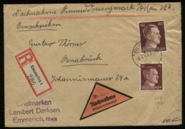 S6574 - DR Hitler MiF Auf R - NN - Briefumschlag: Gebraucht Emmerich - Osnabrück 1943 , Bedarfserhaltung. - Covers & Documents