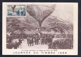 Carte Maximum Ballon Journee Du Timbre 1955 Paris - Cartas Máxima