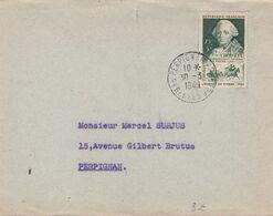 SEUL SUR LETTRE. N° 828. CHOISEUL. PERPIGNAN POUR EN VILLE - Marcophilie (Lettres)