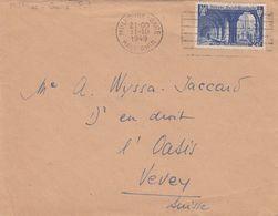 SEUL SUR LETTRE. N° 842. ABBAYE ST WANDRILLE. MULHOUSE POUR ETRANGER FRONTALIER - Marcophilie (Lettres)