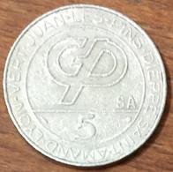 JUAN LES PINS DIEPPE LYON ETC CASINO JETON DE 5 SLOT MACHINE MONNAIE DE PARIS EN MÉTAL CHIP COIN TOKEN - Casino