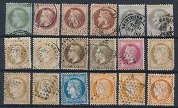 """DP-507: FRANCE: Lot Avec """"NAPOLEON """"et """"CERES"""" N°25-26(3)-27(2)-28A(2)-30(2)-32-36(3)-37-38(3) Obl  2ème Choix - 1863-1870 Napoléon III Lauré"""