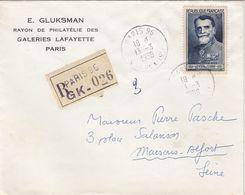 SEUL SUR LETTRE. N° 847. GENERAL FERRIÉ. RECOMMANDÉ PARIS POUR MAISON-ALFORT - Marcophilie (Lettres)