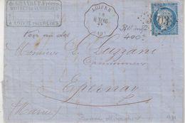 """FRANCE : GC 3103 . N° 60 . OBL CONV STAT . """" LOIVRE """" . (49) . R. TERG . 1873 . - Marcophilie (Lettres)"""
