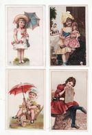 Chromo  CHICOREE BELLE JARDINIERE    Lot De 4    Enfants, Poupée, Parapluie, Brouette Etc     13.9 X 7.8 Cm - Trade Cards