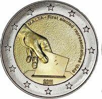"""Pièce 2 Euros MALTE 2011 """"Premières Elections 1849"""" - Malta"""
