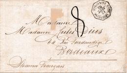 """LSC """"SAINTONGE"""" 1863 Taxée 8 Signée Calves TB. - Marcophilie (Lettres)"""