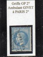 Ardennes - N°29A Obl Griffe Ambulant GP 2° Givet à Paris 2° - 1863-1870 Napoléon III Lauré